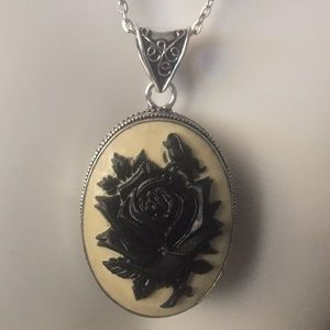 New Stunningly gorgeous black rose carved pendant